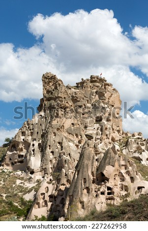 view of Uchisar castle in Cappadocia , Turkey