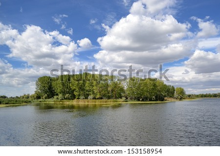 view of Ukrainian Dnieper river on early September autumn day - stock photo