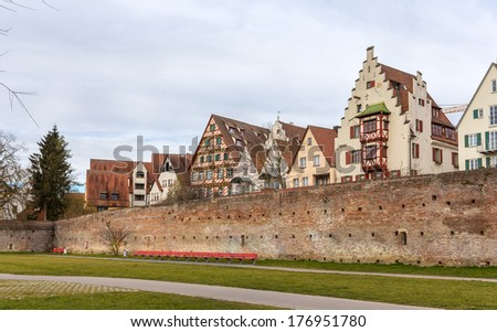 View of Ulm town - Germany, Baden-Wurttemberg - stock photo