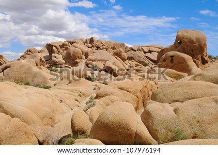 View of Unique Rocks Formations in Joshua Tree National Park, US - stock photo