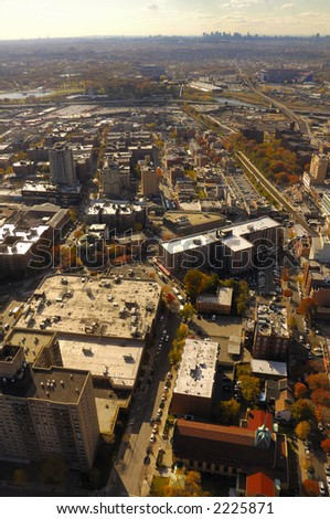 view of urban area taken from airplane - stock photo