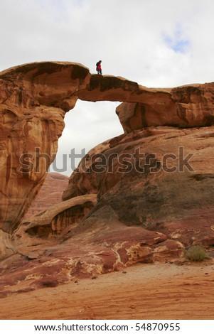 View of Vadi Rum desert. Jordan. Stone bridge. - stock photo