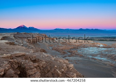 View of Valle de la Luna (Moon Valley) with Licancabur volcano on the back