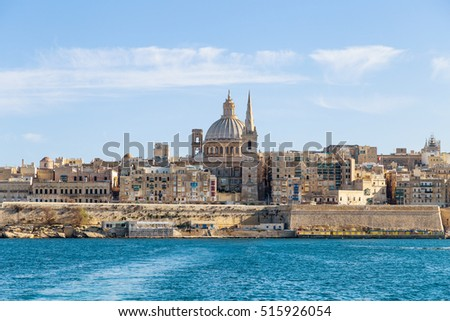 View of Valletta, capital city of Malta from a boat, known as Il-Belt in Maltese