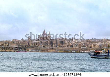 View of Valletta with the St. Pauls Cathedral, Malta. - stock photo