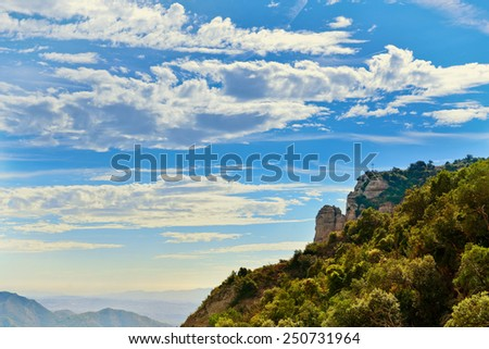View of valley from the monastery of Montserrat, Catalonia, Spain - stock photo
