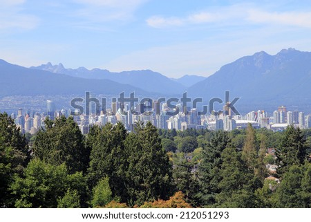 View of Vancouver in British Columbia, Canada