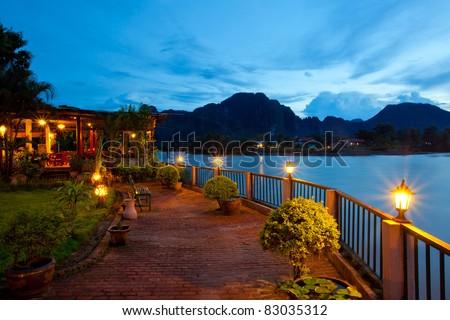 View of Vang Vieng, Laos - stock photo