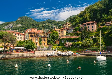 View of Varenna town  at lake Como Italy  - stock photo