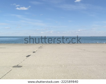 View of vast Lake Michigan from the Gold Coast area in Chicago, IL, USA, on a sunny day in fall 2014. - stock photo