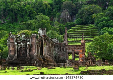 View of Vat Phou or Wat Phu is the UNESCO world heritage site in Southern Laos  - stock photo