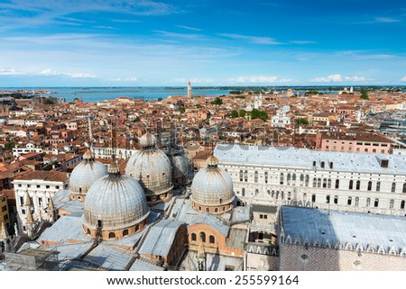 view of Venice, Doge's Palace, domes of San Marco. Venice, Italy
