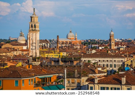view of Venice rooftops from above, Italy - stock photo