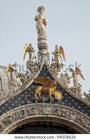 View of Venice the San Marco statue on San Marco church - stock photo