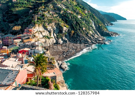 View of Vernazza seaside. Vernazza is a town and comune located in the province of La Spezia, Liguria, northwestern Italy. - stock photo