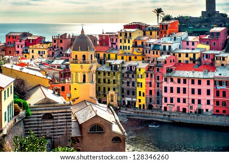 View of Vernazza. Vernazza is a town and comune located in the province of La Spezia, Liguria, northwestern Italy.