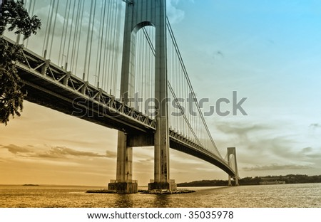 View of Verrazzano Bridge, NY at the dusk