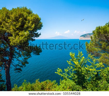 View of Vesuvius from Sorrento. The province of Campania. Italy. - stock photo