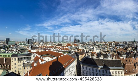 View of Vienna city from the Stephansdom roof, Austria