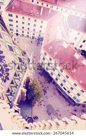 View of Vienna from the St.Stephan Cathedral roof with instagram effect retro vintage filter - stock photo