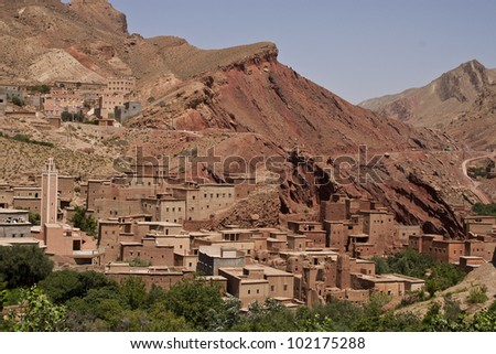 View of village in Dades Gorges, Morocco - stock photo