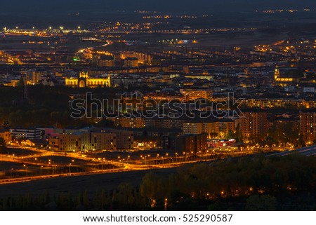 View of Vitoria at dusk from Olarizu mountain, Basque Country (Spain)