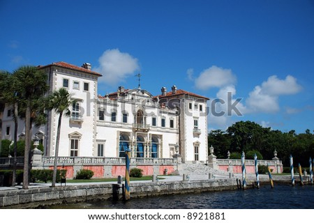 View of Vizcaya Mansion in Miami with Dock