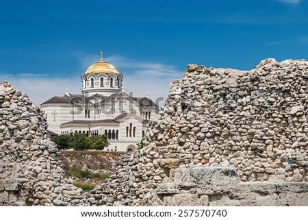view of Vladimir Cathedral in Tauric Chersonesos, Sevastopol city, Crimea - stock photo