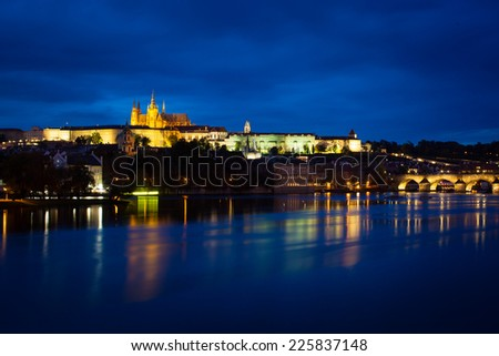 View of Vltava river with Charles bridge and Prague castle in Prague - Czech Republic (view on little quarter, colorful image)