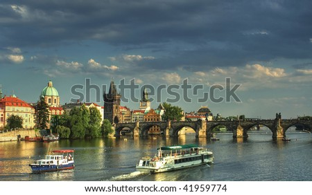 View of Vltava river with Charles bridge in Prague, Czech republic