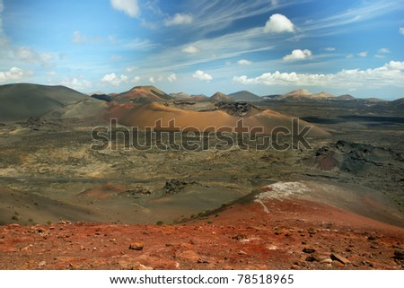 View of volcanic landscape in Lanzarote, Canary Islands