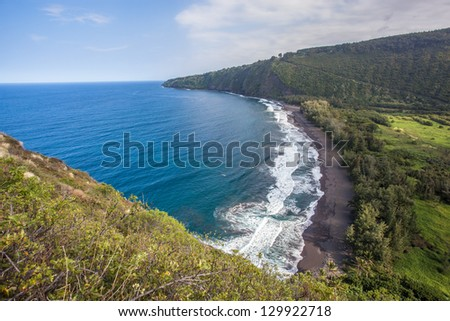 View of Waipio Valley, Big Island, Hawaii - stock photo