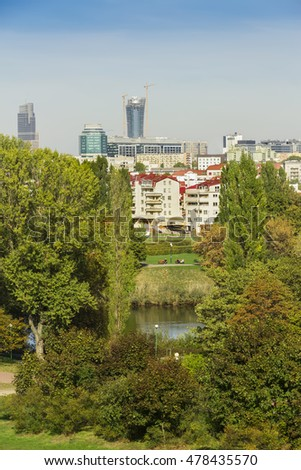 View of Warsaw - capital of Poland. City center  and green areas.