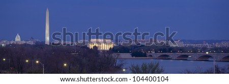 View of Washington DC at dusk, Washington DC - stock photo