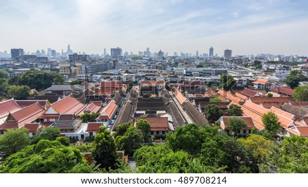 View of Wat Saket Buddhist temple Golden Mount in Bangkok, Thailand