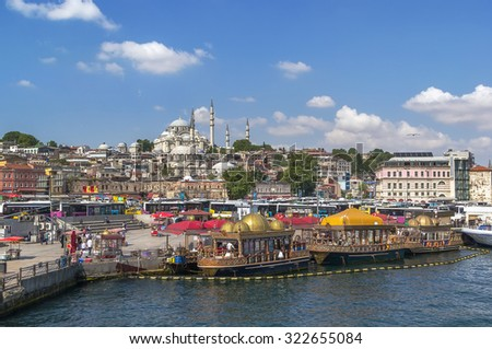 view of waterfront and Suleymaniye Mosque  from Galata bridge , Istanbul - stock photo