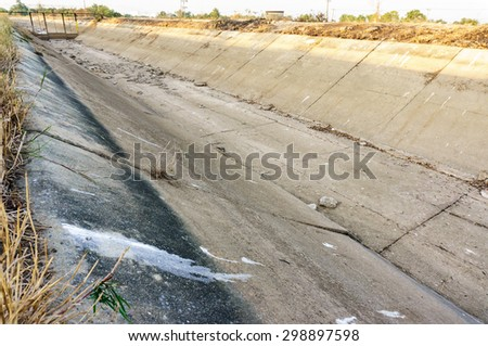 view of waterway is drought in thailand country - stock photo