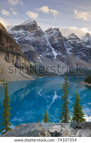 View of Wenkchemna Peaks from the shore of Moraine Lake, Banff National Park, Alberta, Canada - stock photo