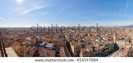 View of West-Southern Verona City from Torre dei Lamberti - stock photo