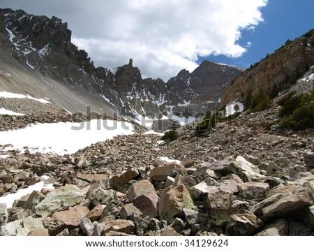 View of Wheeler Peak in Great Basin National Park, Nevada, USA. - stock photo