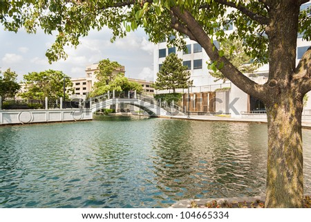 View of White River Canal in Indianapolis - stock photo