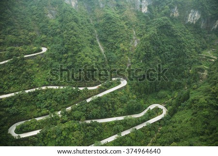 View of winding road of Tianmen mountain national park, Hunan province, China