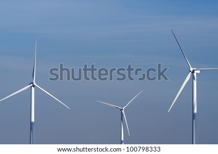 view of  windmills for renewable electric  energy production