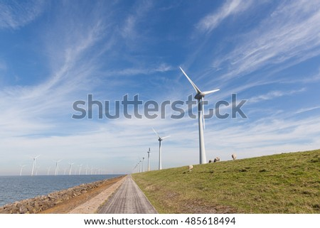 View of windpark in the Dutch Noordoostpolder, Flevoland and the