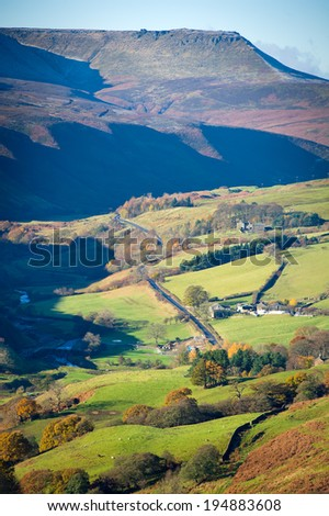 View of Woodlands Valley and Snake Pass, Peak District National Park, Derbyshire, UK. Image taken from Rowlee Pasture near Edale, Derbyshire, Great Britain. - stock photo