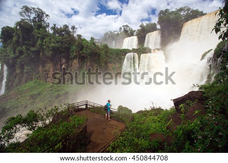 view of worldwide known Iguassu falls at the border of Brazil and Argentina - stock photo