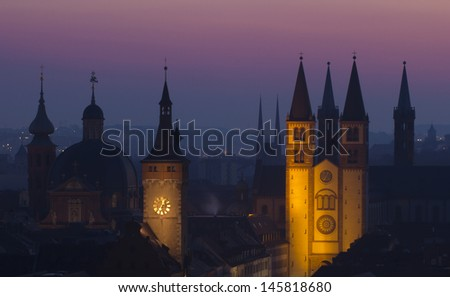 View of Wurzburg before sunrise - stock photo