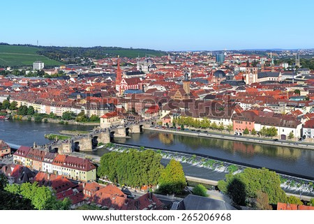 View of Wurzburg from Marienberg Fortress, Germany - stock photo
