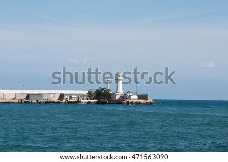 view of Yalta lighthouse in Black sea, Crimea