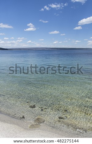 View of Yellowstone Lake from West Thumb Geyser Basin, Yellowstone National Park